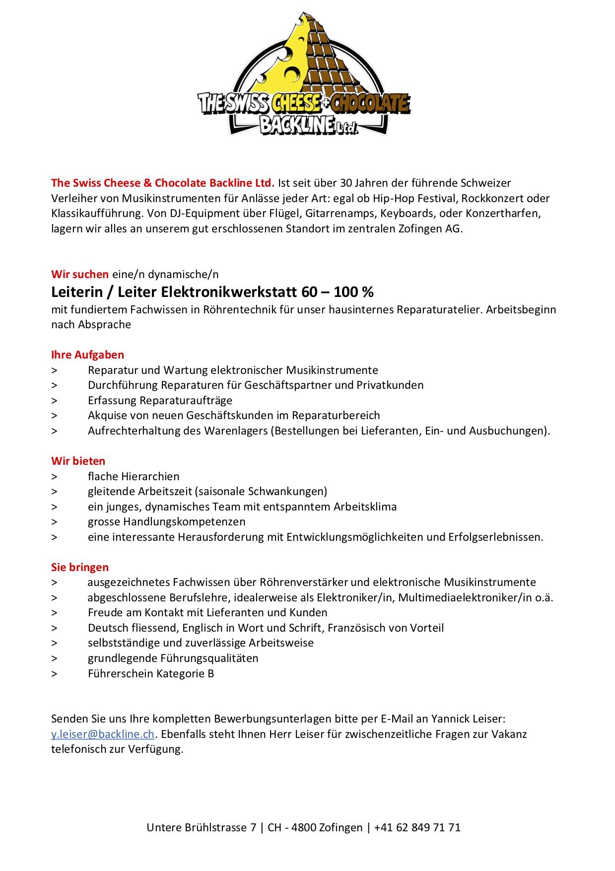 Stellenausschreibung: Leiterin / Leiter Elektronikwerkstatt 60 – 100 %